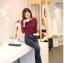 เสื้อทำงานผู้หญิงแขนยาวลูกไม้สีแดง คอประดับมุก สวยหรู thumbnail 8