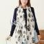 ผ้าพันคอลายหัวกะโหลก Skull pattern scarf : สีขาวดำ : ผ้าพันคอชีฟอง - size 170*70 cm thumbnail 1