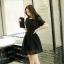 ชุดเดรสผ้าลูกไม้สีดำไซส์ใหญ่ แขนสั้น (XL,3XL,4XL)