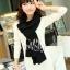 ผ้าพันคอไหมพรม ผ้า cashmere scarf size 180x30 cm - สี Black thumbnail 4