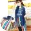 ผ้าพันคอลายทาง Painting Line สีน้ำเงิน - ผ้า Cotton twill - size 180 x 90 cm thumbnail 2