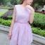 """""""พร้อมส่ง""""เสื้อผ้าแฟชั่นสไตล์เกาหลีราคาถูก เดรสลายทางสีชมพูขาว แขนกุด ด้านข้างมีซิป ติดกระดุมหลังคอ 1เม็ด เอวจั๊มและเว้า2ข้าง มีซับใน thumbnail 1"""