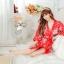 เสื้อคลุมนอนลายกิโมโน สีแดงลายดอกไม้ thumbnail 5