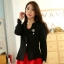 เสื้อคลุมแจ็คเก็ตสั้นไซส์ใหญ่ สีดำ แขนยาว เข็มกลัดถอดออกได้ (XL,2XL,3XL) B-9740