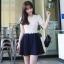 """""""พร้อมส่ง""""เสื้อผ้าแฟชั่นสไตล์เกาหลีราคาถูก Brand Love of clothes เดรสเสื้อคอบัวแขนสั้นสีครีม ระบายลูกไม้ที่เอว ต่อประโปรงสีดำ มีซับในทั้งตัว ซิปหลัง size M thumbnail 1"""