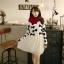 """""""พร้อมส่ง""""เสื้อผ้าแฟชั่นสไตล์เกาหลีราคาถูก set 2 ชิ้น เสื้อไหมพรมสีขาวลายโบว์สีดำ แขนยาว + เดรสชีฟองแขนกุด จั๊มเอว มีซับในช่วงกระโปรง -สีขาว thumbnail 1"""