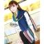 ผ้าพันคอลายทาง Painting Line สีน้ำเงิน - ผ้า Cotton twill - size 180 x 90 cm thumbnail 4