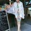 ผ้าพันคอแฟชั่นลายดอกไม้ Blossom Bloom : White color ผ้า Viscose - size 180x90 cm thumbnail 6