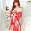 เสื้อคลุมนอนลายกิโมโน สีแดงลายดอกไม้ thumbnail 3