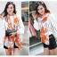 ผ้าพันคอแฟชั่นลายโซ่ Chiffon Coach : สีส้ม : ผ้าพันคอ Silk Chiffon - size 160x60 cm thumbnail 2