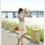 (ไซส์ XL 2XL 3XL ราคา 690-720-750) [พร้อมส่ง] 2สี สีครีมไอวอรี่ สีดำ ALDB202 ใหม่! เดรส+เสื้อลายริ้วผูกเอว เดรสผ้าชีฟองอัดพลีทหน้าสั้นหลังยาว #478 thumbnail 5
