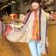 ผ้าพันคอลายลูกน้ำ Paisley Pattern : สีครีมขอบแดง - ผ้าพันคอ Cotton - 180x80 cm thumbnail 2