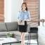 เสื้อเชิ้ตทำงานผู้หญิงแขนยาว สีฟ้า ปกสีขาว เป็นชุดยูนิฟอร์มได้ thumbnail 12