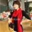 ผ้าพันคอไหมพรม ผ้า cashmere scarf size 180x30 cm - สี red thumbnail 1