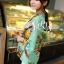ผ้าพันคอลายดอกไม้ Colorful flower สี Mint ผ้าพันคอ Silk Chiffon - size 160 x 60 cm thumbnail 5
