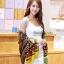 ผ้าพันคอลาย Fairy Tale สีน้ำตาลเหลือง - ผ้า Cotton Twill - size 180 x 90 cm thumbnail 2