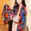 ผ้าพันคอแฟชั่น Retro Graphic : สีน้ำเงิน ผ้าชีฟอง size 150x50 cm thumbnail 6