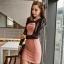 """""""พร้อมส่ง""""เสื้อผ้าแฟชั่นสไตล์เกาหลีราคาถูก เดรสสีชมพู ลูกไม้สีดำแขนยาว เปิดช่วงอก ซิปหลัง ไม่มีซับใน thumbnail 1"""