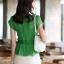 เสื้อทำงานผู้หญิงแขนสั้น ผ้าชีฟอง สีเขียว thumbnail 18