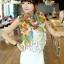 ผ้าพันคอแฟชั่นลายดอกไม้ Blossom Bloom : White color ผ้า Viscose - size 180x90 cm thumbnail 1