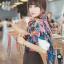 ผ้าพันคอแฟชั่น Retro Graphic : สีน้ำเงิน ผ้าชีฟอง size 150x50 cm thumbnail 4