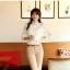 เสื้อเชิ้ตแฟชั่นทำงานผู้หญิงแขนยาวลูกไม้สีขาว ปกสีชมพูโอรส thumbnail 11