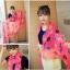 ผ้าพันคอลาย Kiss me : สี Neon pink ผ้า Chiffon 160 x 60 cm thumbnail 4