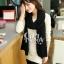 ผ้าพันคอไหมพรม ผ้า cashmere scarf size 180x30 cm - สี Black thumbnail 5