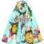 ผ้าพันคอลายดอกไม้ Colorful flower สี Mint ผ้าพันคอ Silk Chiffon - size 160 x 60 cm thumbnail 6