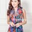 ผ้าพันคอแฟชั่น Retro Graphic : สีน้ำเงิน ผ้าชีฟอง size 150x50 cm thumbnail 1