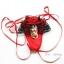 กางเกงในจีตริงสีแดงแบบผูกสายข้างปักลูกไม้สีดำเซ็กซี่ thumbnail 1
