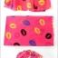 ผ้าพันคอลาย Kiss me : สี Neon pink ผ้า Chiffon 160 x 60 cm thumbnail 8