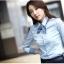 เสื้อเชิ้ตทำงานผู้หญิงแขนยาว สีฟ้า แบบเรียบๆ thumbnail 3