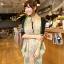 ผ้าพันคอลายวินเทจ Vintage : ผ้าพันคอ Viscose - size 170x70 cm - ขอบเขียว thumbnail 6