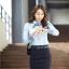 เสื้อเชิ้ตทำงานผู้หญิงแขนยาว สีฟ้า แบบเรียบๆ thumbnail 6