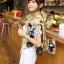 ผ้าพันคอ ผ้าคลุมไหล่ ลายดาว Stars สีน้ำตาล - ผ้าพันคอ Silk Chiffon - size 170*70 cm thumbnail 9
