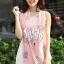 ผ้าพันคอลายโบว์ : Bow print scarf สีชมพู - ผ้าชีฟอง 160 x 45 cm thumbnail 1