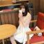 """size L""""พร้อมส่ง""""เสื้อผ้าแฟชั่นสไตล์เกาหลีราคาถูก เดรสสีขาวแขนกุด ตัวเสื้อเย็บคลุมทับด้วยผ้าลูกไม้แขน3ส่วน กระโปรงบานๆ ซิปหลัง ไม่มีซับใน -สีส้ม thumbnail 1"""