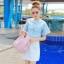 """size M""""พร้อมส่ง""""เสื้อผ้าแฟชั่นสไตล์เกาหลีราคาถูก Brand Aishikada เดรสสีขาวด้านบนคลุมด้วยเสื้อแขนสั้นสีฟ้าลายกวาง ซิปหลัง มีซับในตัว น่ารัก -size M thumbnail 1"""