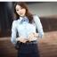 เสื้อเชิ้ตทำงานผู้หญิงแขนยาว สีฟ้า แบบเรียบๆ thumbnail 4