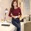 เสื้อทำงานผู้หญิงแขนยาวลูกไม้สีแดง คอประดับมุก สวยหรู thumbnail 4
