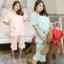 ชุดนอนคอตตอนไซส์ใหญ่ สีชมพู/สีฟ้า ปกบัวมนกุ๊นลูกไม้ (XL,2XL,3XL)