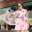 ผ้าพันคอลายโบว์ : Bow print scarf สีครีม - ผ้าชีฟอง 160 x 45 cm thumbnail 1