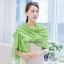 ผ้าพันคอ ผ้าคลุมพัชมีนา Pashmina scarf size 160 x 60 cm - สีเขียว thumbnail 1