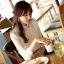 เสื้อเชิ้ตแฟชั่นทำงานผู้หญิงแขนยาวลูกไม้สีขาว ปกสีชมพูโอรส thumbnail 3