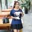 เสื้อทีเชิ้ตผ้าไหมซาติน สีน้ำเงิน คอกลม แขนสั้น ภาพมาริลีน มอนโร่ (XL,2XL,3XL) ZX-0619