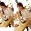 เสื้อเชิ้ตแฟชั่นทำงานผู้หญิงแขนยาวลูกไม้สีขาว ปกสีชมพูโอรส thumbnail 6