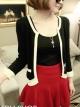 พร้อมส่งแฟชั่นเกาหลี:เสื้อคลุมknitถักไหมเกาหลี น่ารักแต่งโบว์ที่ปลายแขน