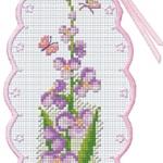 Bookmark ดอกไม้สีม่วง และผีเสื้อ