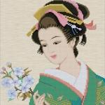สาวญี่ปุ่นถือช่อดอกไม้